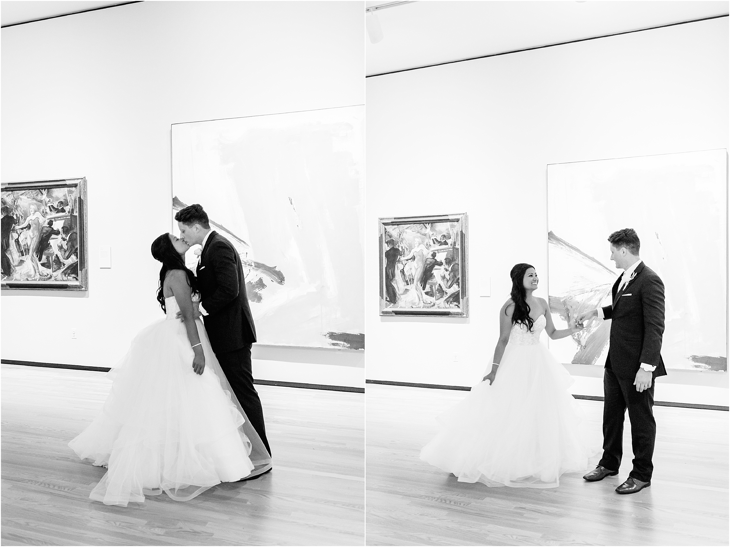 Chrysler Museum of Art elegant wedding portraits in the art gallery