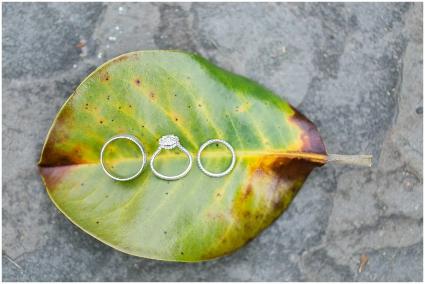 garden wedding at the hermitage museum and gardens wedding rings and magnolia leaf tree detail
