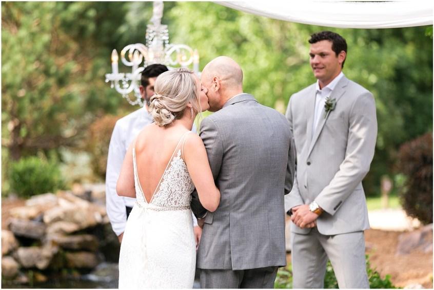 house mountain inn wedding lexington Virginia, wedding ceremony, dad giving bride away