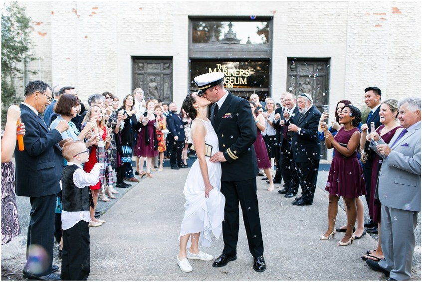 bubble exit, afternoon wedding at the Mariner's Museum Wedding afternoon reception
