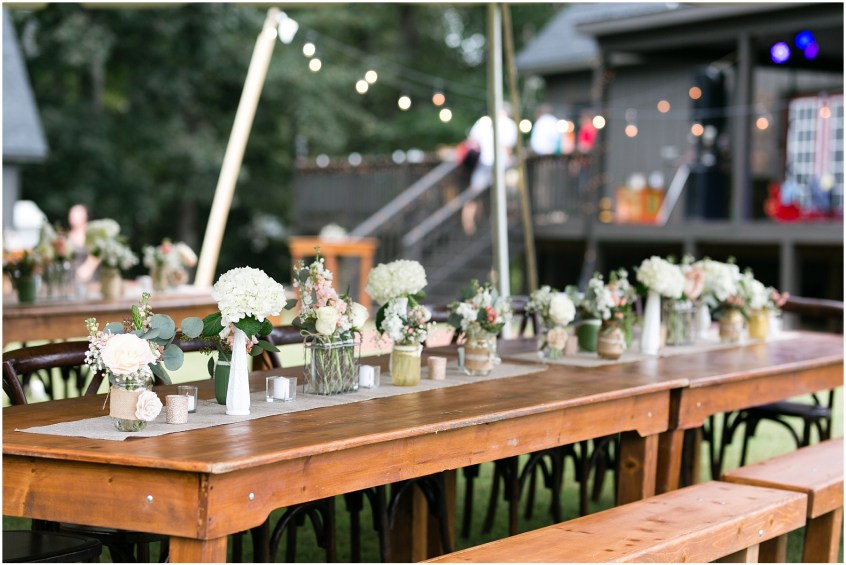 richmond casual backyard wedding reception, farm table