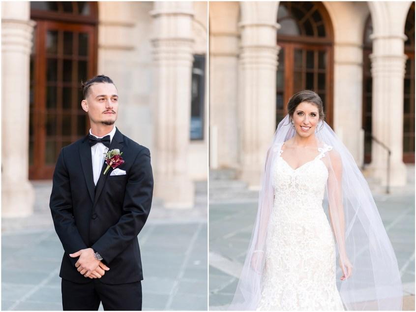 bride and groom at chrysler museum wedding, norfolk, virginia, fall wedding
