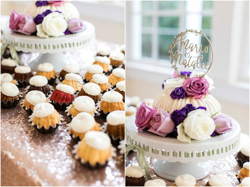 the woman's club of Portsmouth wedding in the fall, Carolyn celeste weddings, wedding reception, nothing bundt cakes, Kathy forrest design