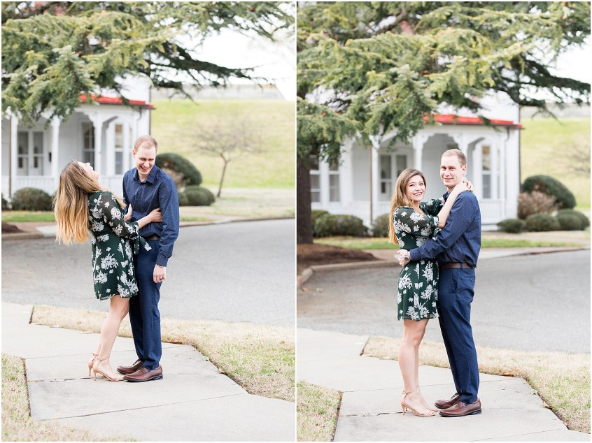 Fort Monroe Anniversary photography, couple laughing
