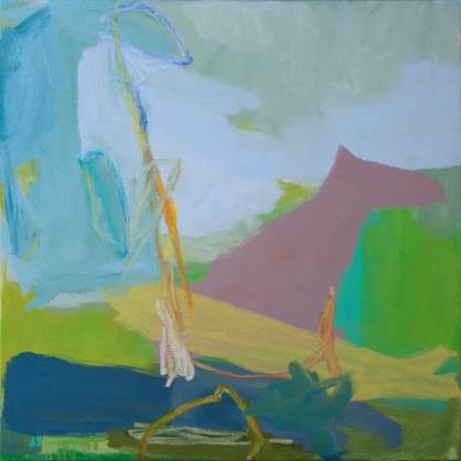 Land With D, oil and acrylic on canvas, 24 x 24 inches, 2014