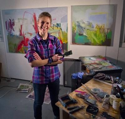 Artist Jessica Singerman in the studio