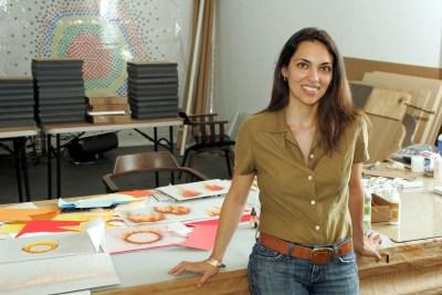 Teresita Fernandez poses in her studio