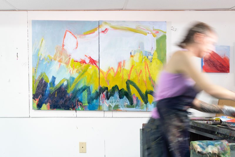 Artist Jessica Singerman in the studio