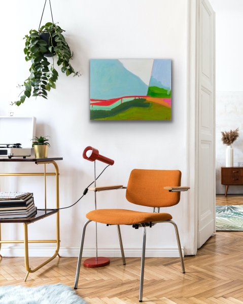 abstract landscape painting in a home office
