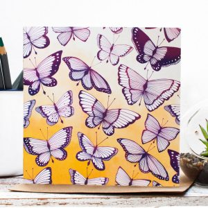 Flutter Blank Botanical Gift Card, an original butterfly inspired illustration with bright ochre, pinks and purples. Made in the UK | Jessica Wilde Design ©