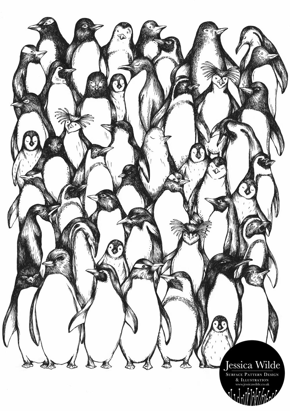 Penguin Waddle Art Print