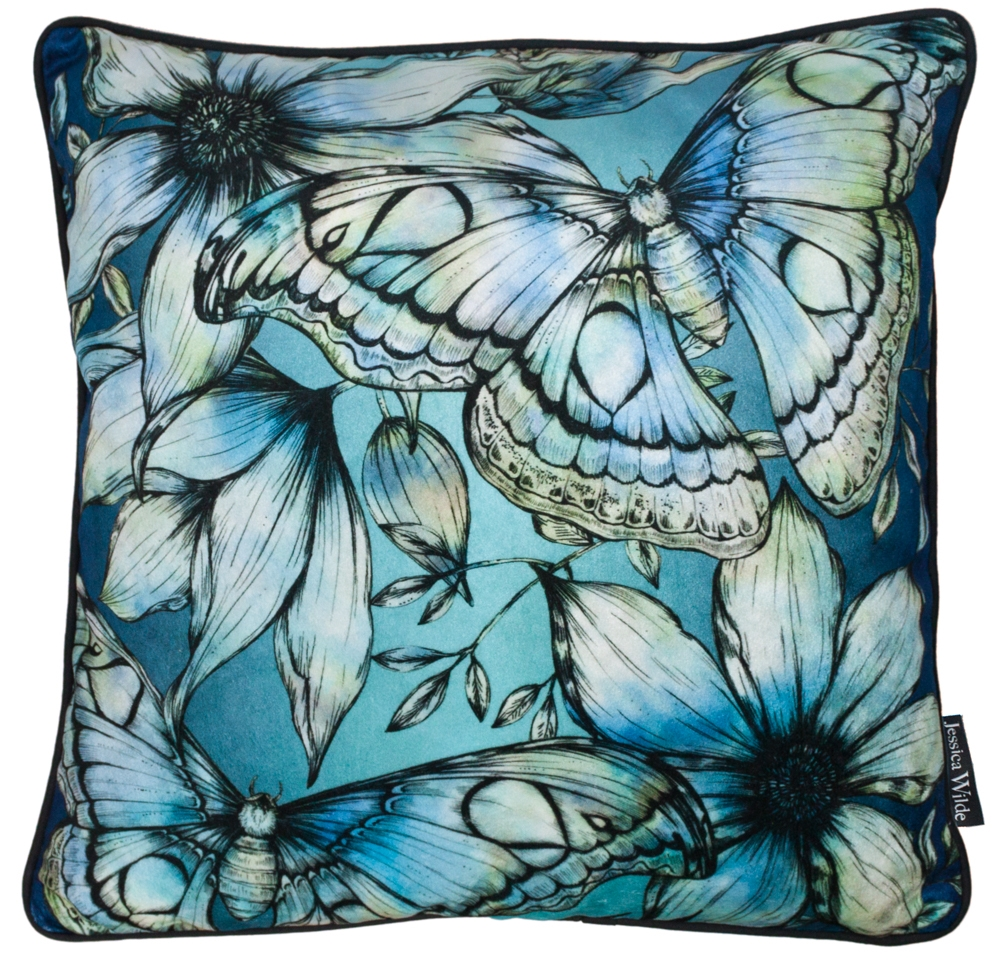Atlas Moth Luxury Velvet Throw Cushion | Sapphire