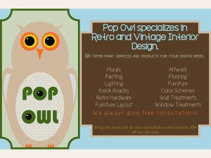 Pop Owl post card - layout