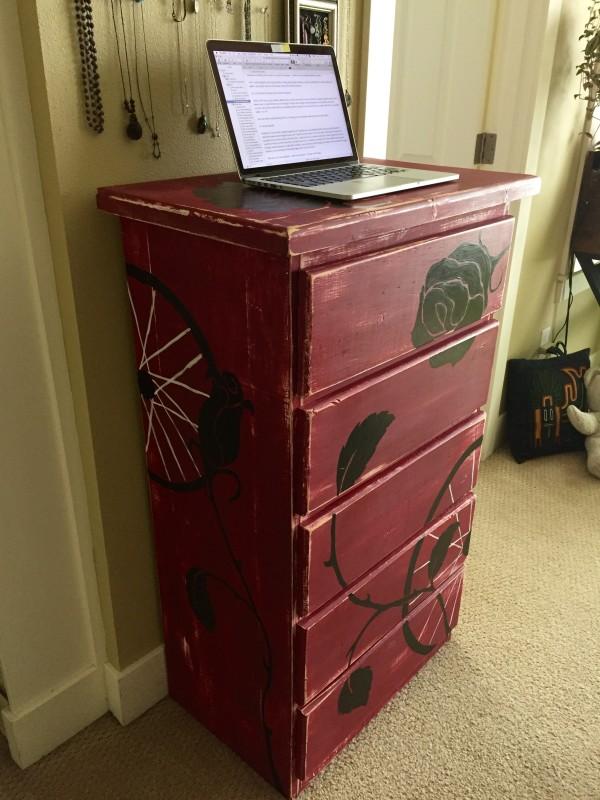 My dresser –my standing desk.
