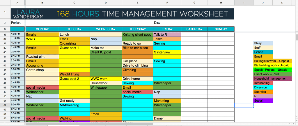 Time management worksheet #2
