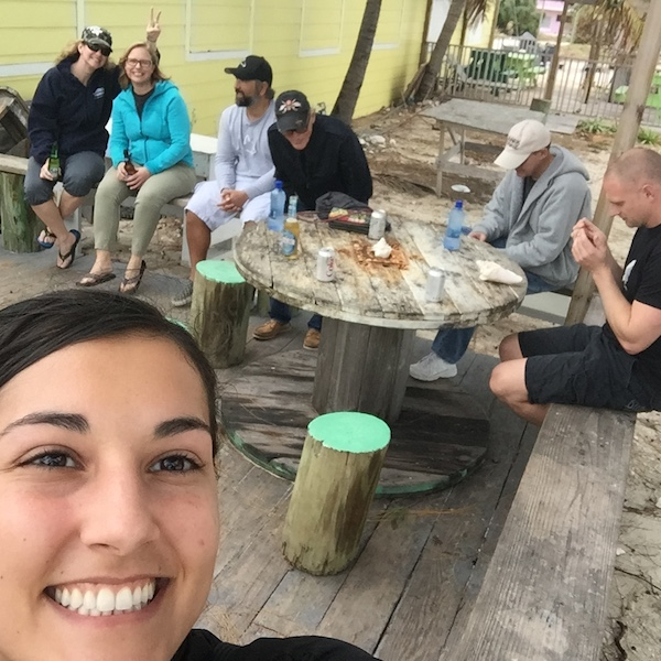 Group selfie! Waiting on our friiiiieeedd chicken