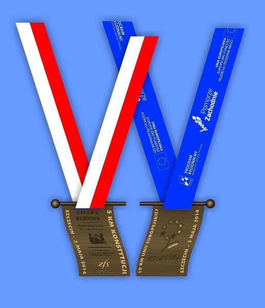 medale bieg konstytucji 3 maja bieg dziesięciolecia w unii szczecin