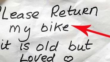 Złodziej oddał kobiecie rower! Zobacz, dlaczego to zrobił!