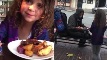 Dziewczynka zobaczyła za oknem bezdomnego i nie pozostawiła go bez pomocy