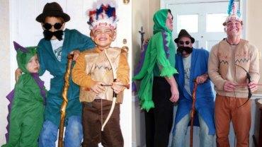 Trzech braci zrobiło rodzicom wspaniałą niespodziankę: odtworzyli ich ulubione stare zdjęcia z rodzinnego albumu