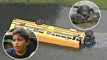 Szkolny autobus wpadł do jeziora pełnego aligatorów! Rannym na ratunek ruszył 10-letni chłopiec, który sam był ofiarą tego wypadku!