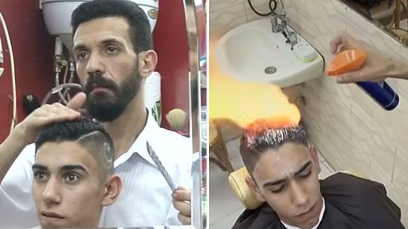 Ten fryzjer stylizuje włosy klientów za pomocą ognia! Fryzury, które im robi, są naprawdę GORĄCE!