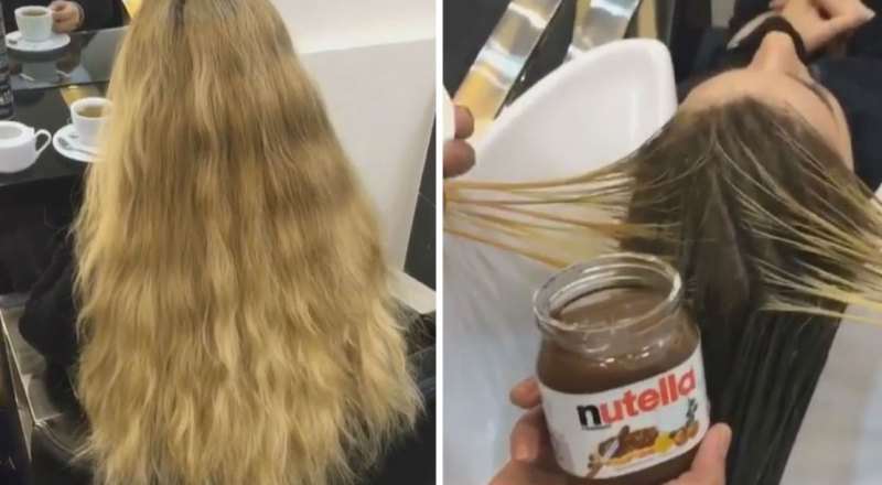 Instead of applying hair dye to their client's hair, this hairdresser smeared on Nutella! The effect is electrifying 4