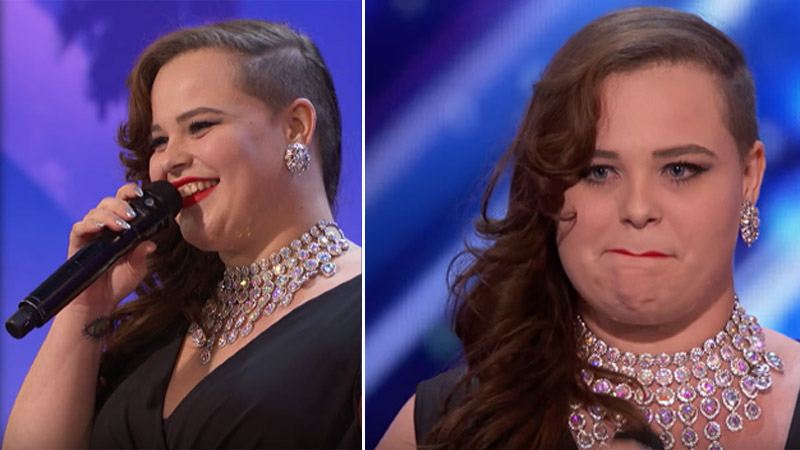 She came into the studio dressed like a start from the 40s. But after only 10 seconds the disappointed jury stopped her performance. This girl showed her talent only after taking off her shoes and necklace! 2