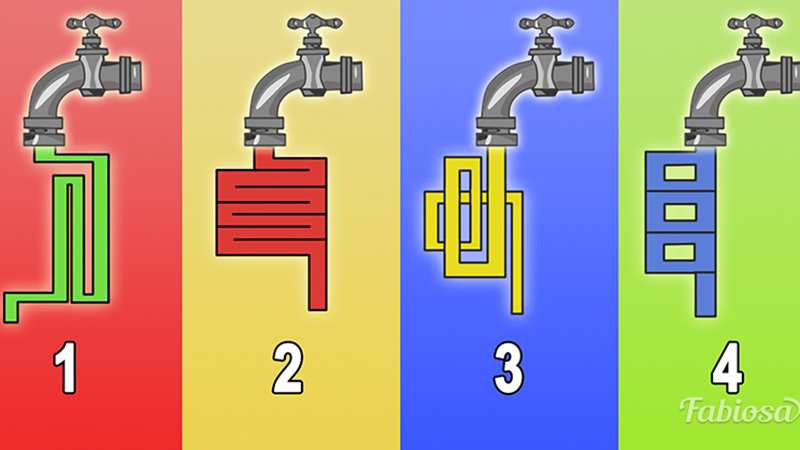 From which tap will the water flow the fastest? The choice will tell you a little about your intelligence! 3