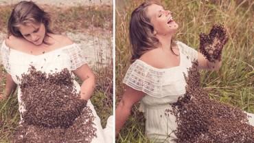 Chciała mieć unikatową sesję ciążową, położyła więc królową pszczół na brzuchu i poczekała, aż zleci się cały ul. Internauci pukają się w głowę!