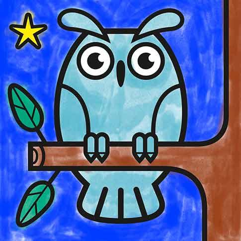 Coloriage dessin hibou