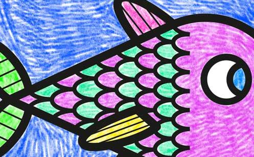 dessin coloriage poisson