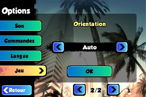 Le menu de réglage de l'orientation de l'écran