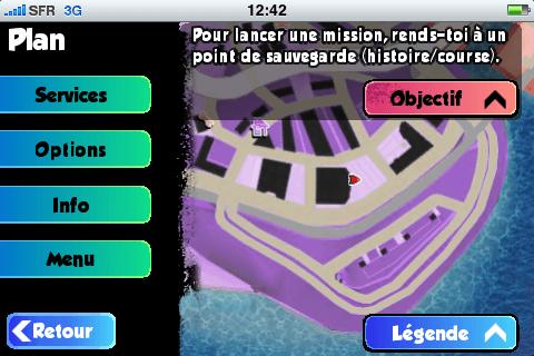 Le menu d'option du jeu affiche une carte et l'objectif en cours