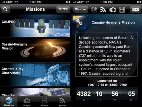 Les missions de la NASA - Application iPhone