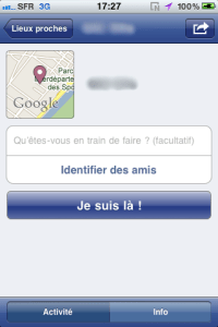 Envoi de position - Facebook - iPhone