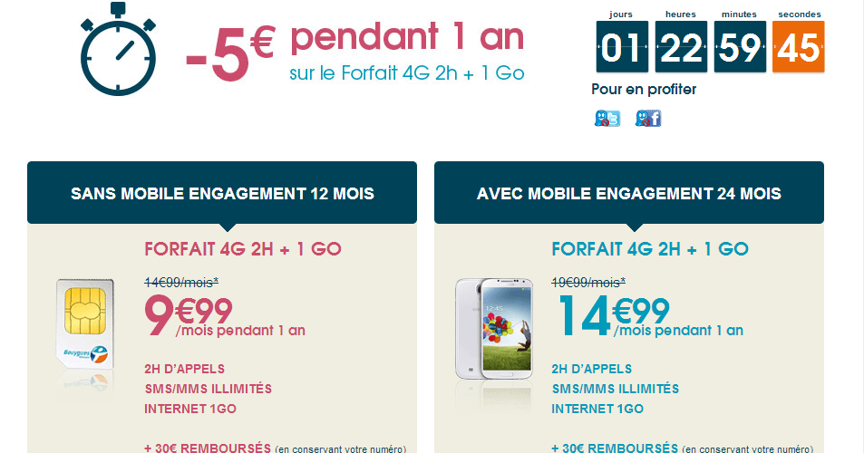 (Article sponsorisé) Promo forfait 4G 1Go + 2H chez Bouygues Télécom pour 24 h ! 1