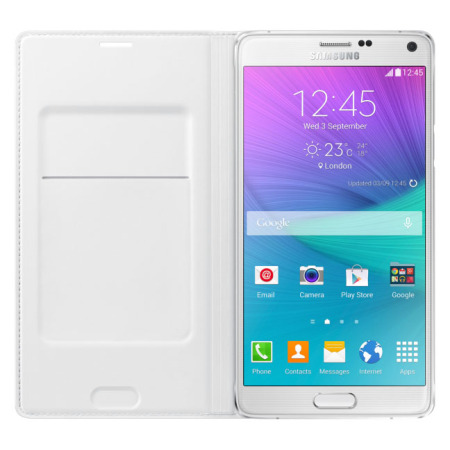 Test de la flip cover wallet officielle pour Samsung Galaxy Note 4 blanche 3