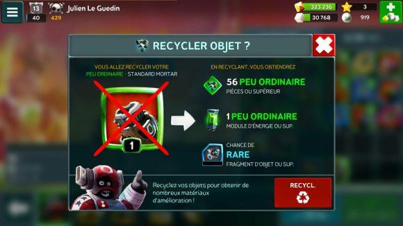 Battle Bay - Le recyclage d'une arme et son gain sont affichés.