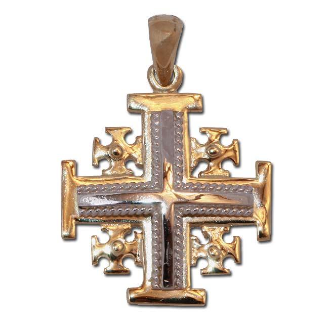 Anhnger Jerusalem Kreuz Gelb und Weigold
