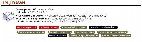 Panel de Control de Impresión CUPS en Linux v�a Web