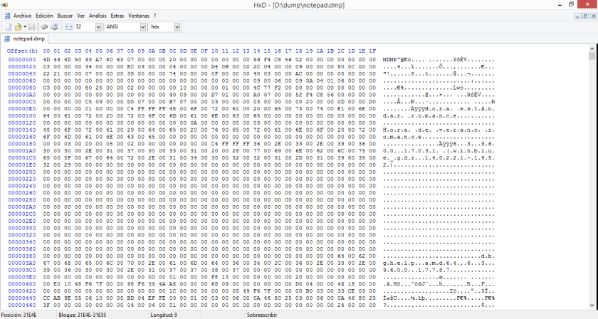 Abrir el fichero de volcado de memoria con un editor hexadecimal