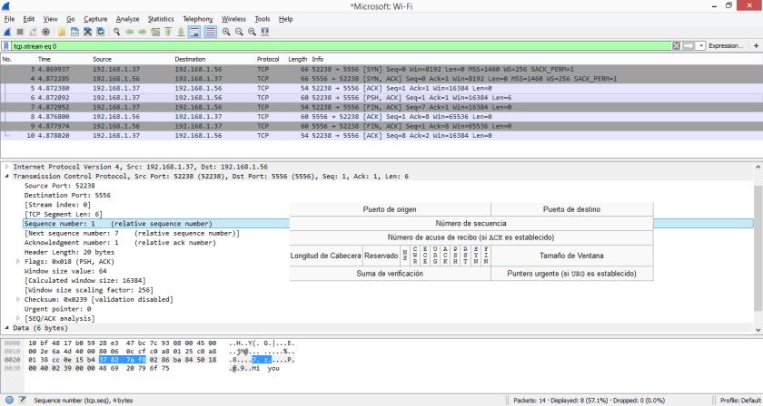 Capturar, analizar y filtrar el tráfico capturado detectando los números de secuencia