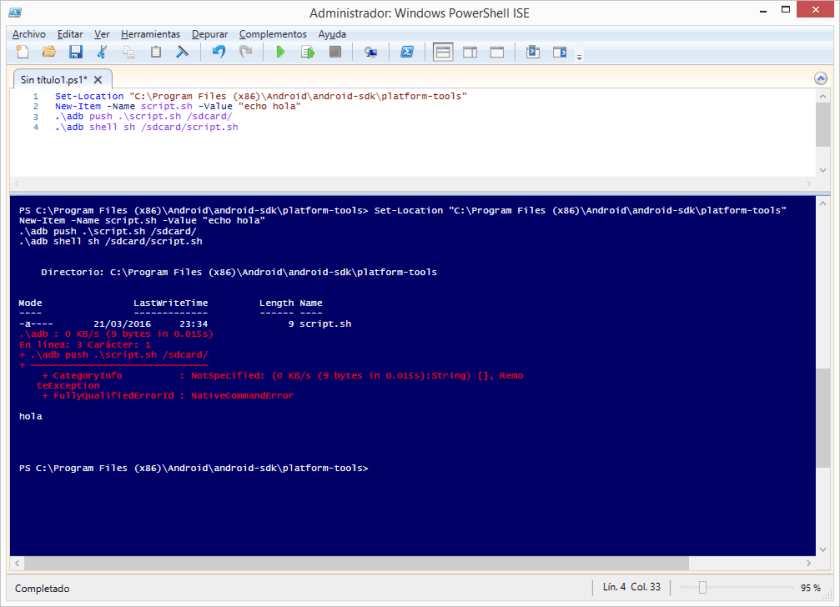 Ejecutar un script en Android mediante ADB a través de PowerShell