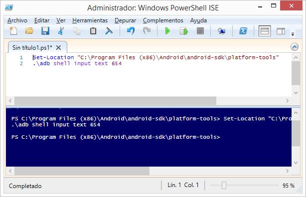 Simular la escritura de texto en Android mediante ADB a través de PowerShell