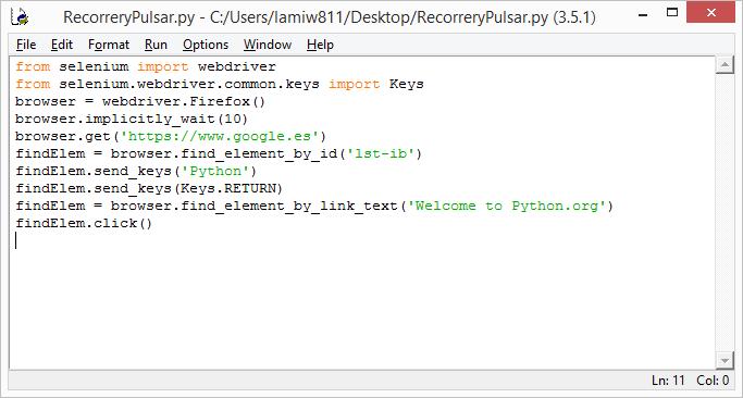 Realizar una búsqueda y pulsar sobre un enlace en el navegador desde Python
