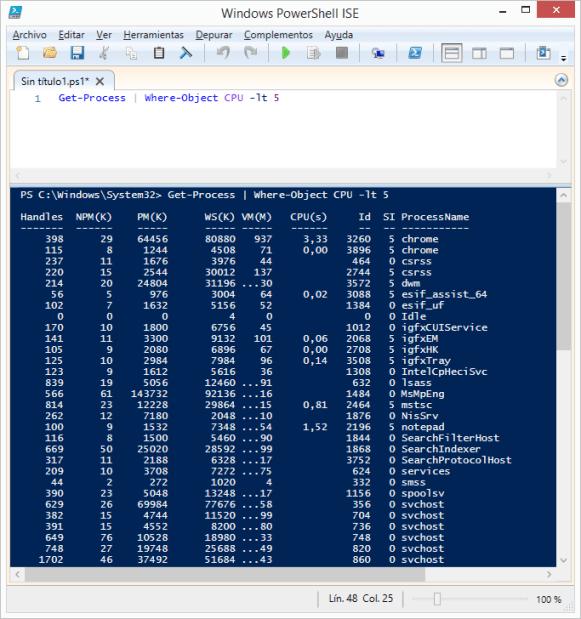 get-process-where-object-cpu-lt-5-powershell-windows