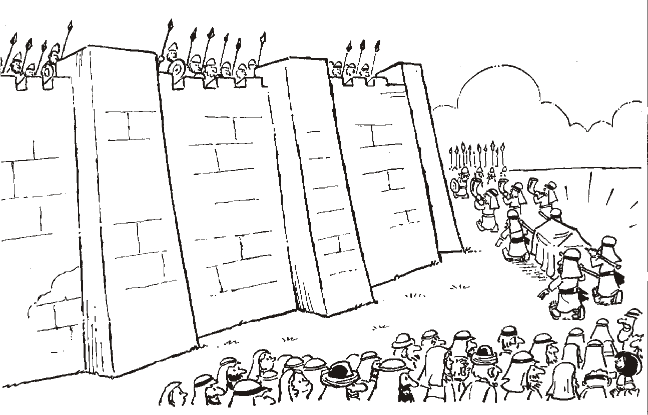 Wall Of Jericho Coloring Pages About Joshua Coloring Pages