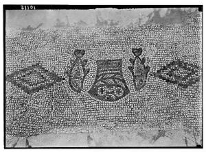 Fish and loaves, mosaic floor at Tabgha, Sea of Galilee