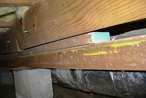 If your central beam isn't supported properly, or in poor condition, the outcome will be sagging floors.